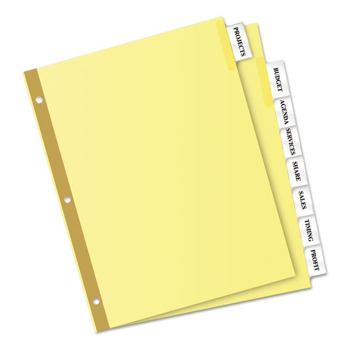 insertable big tab dividers 8 tab buff letter clear tabs ave11112