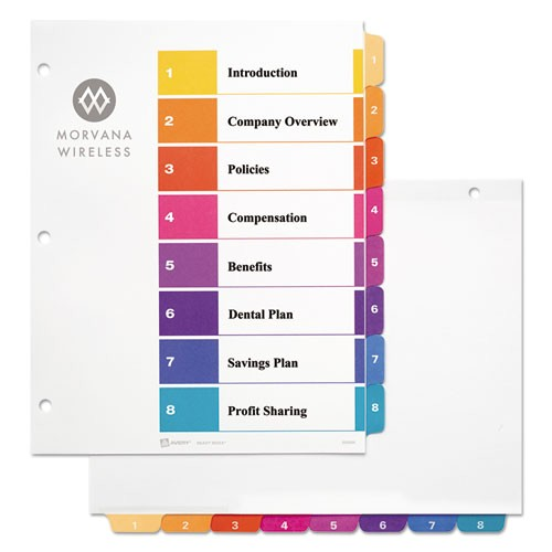 ready index customizable table of contents multicolor dividers 8 tab letter ave11133
