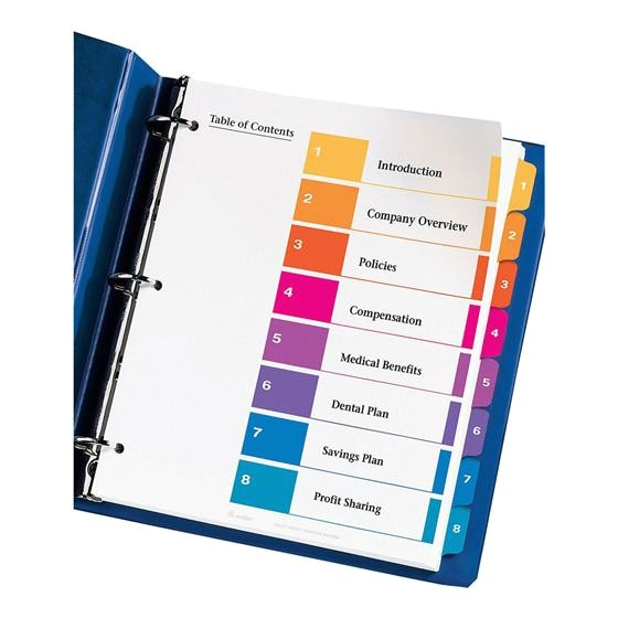 avery 11133 ready index 1 8 multicolor tabs 1 set