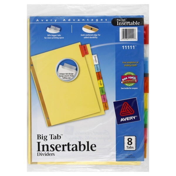 Avery 8 Tab Template 11133 Avery Big Tab Insertable Dividers 8 Tabs