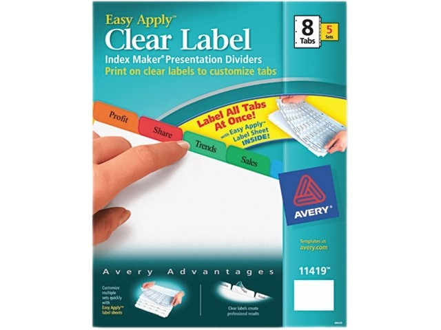 Avery 8 Tab Template 11419 Avery 11419 Index Maker Divider W Multicolor Tabs 8 Tab