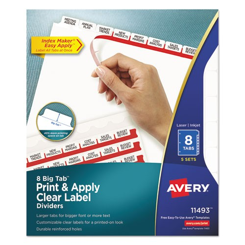 print and apply clear label dividers wwhite tabs 8 tab letter 5 sets ave11493