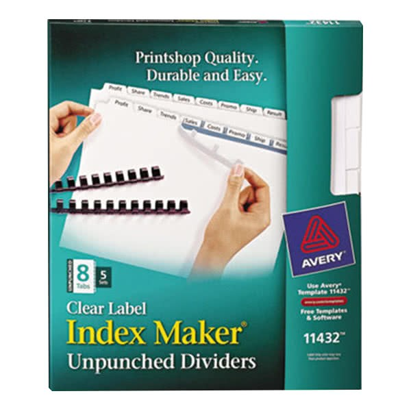 Avery 8 Tab Template 11432 Avery 11432 Index Maker 8 Tab Unpunched Divider Set with