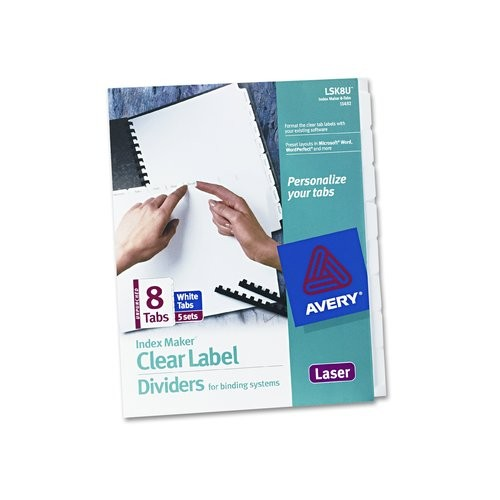 avery consumer products index maker clear label unpunched divider 8 tabs 5 sets pack ave11432 uay1414