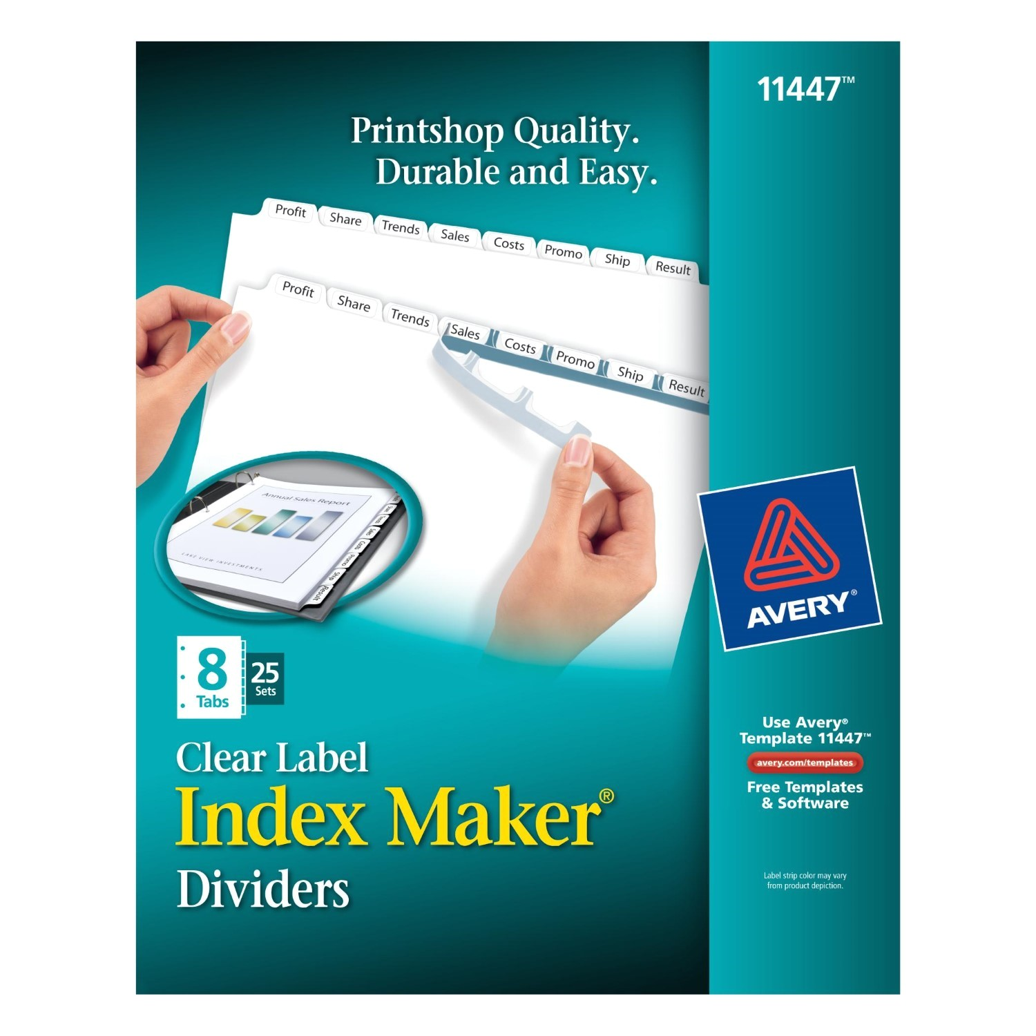 Avery 8 Tab Template 11447 Avery Index Maker Label Dividers White 8 Tabs Divider