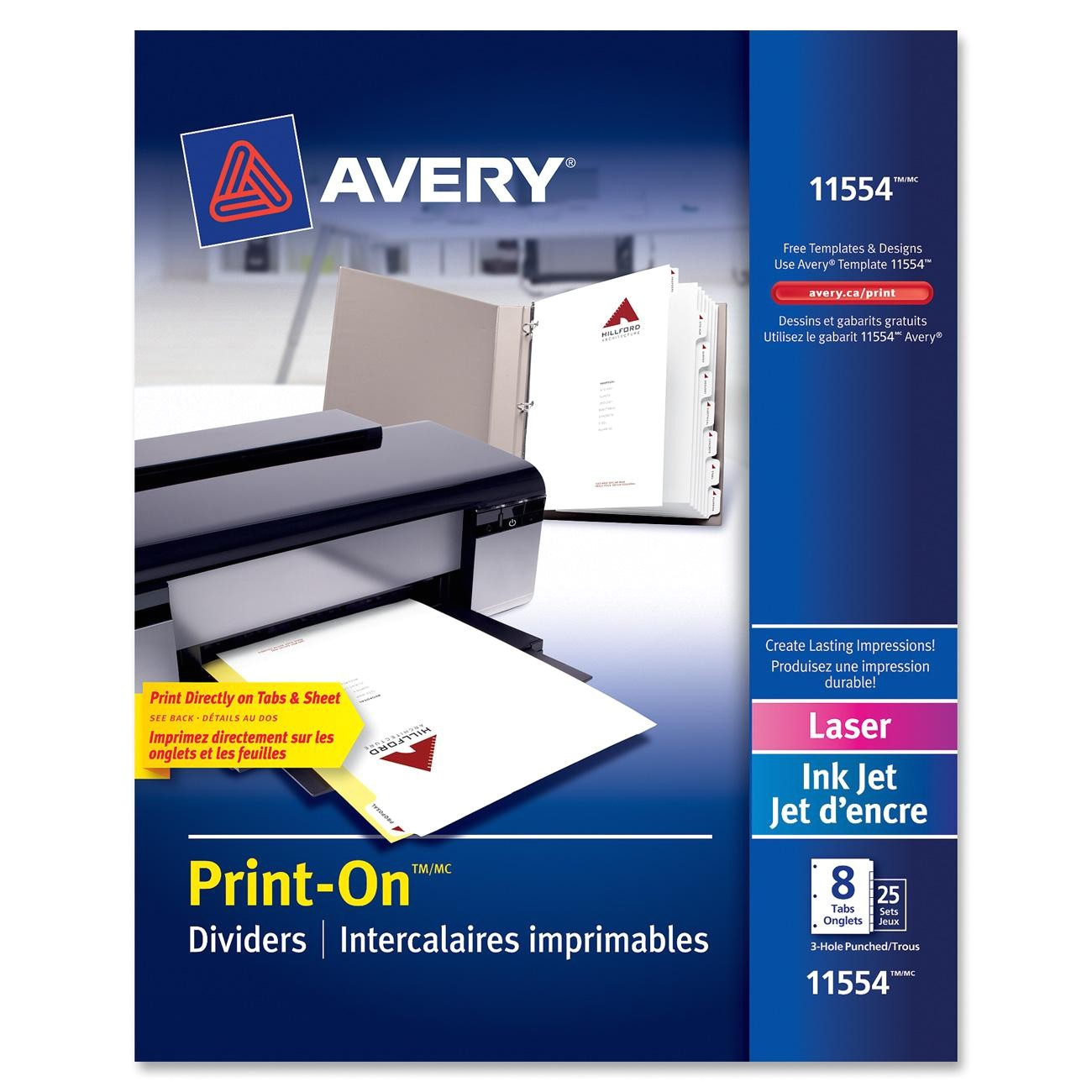ave11554 avery 11554 customizable printon dividers