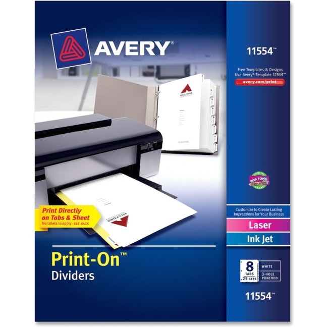 Avery 8 Tab Template 11554 Avery 11554 Customizable Print On Dividers 8 Print On Tab