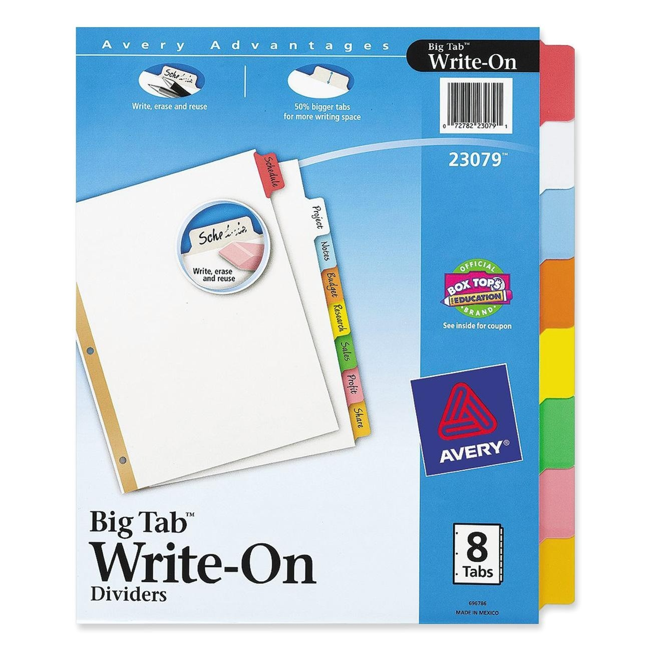 avery ave23079 big tab write on divider with erasable tab