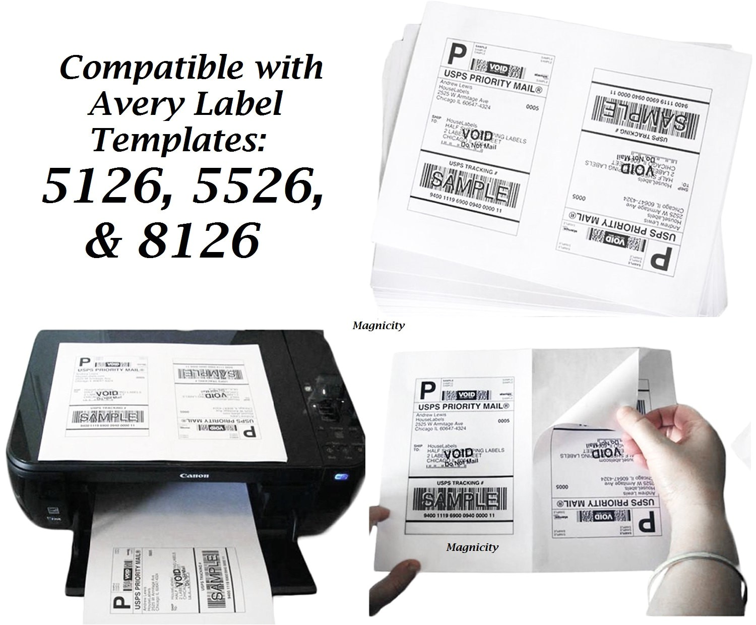 100 half page blank shipping labels 50