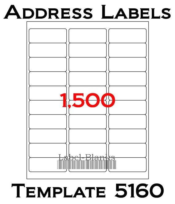 Avery Address Labels Template 5160 Laser Ink Jet Labels 50 Sheets 1 X 2 5 8