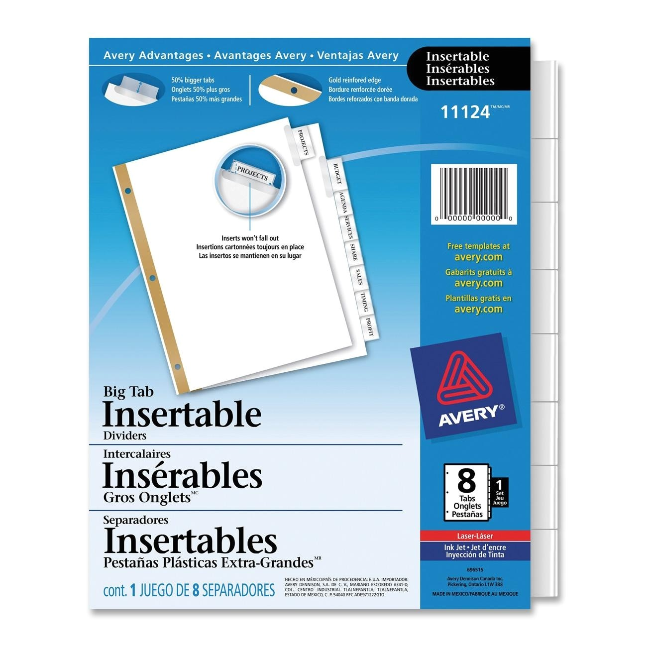 Avery Big Tab 8 Template Avery Big Tab Insertable Dividers 8 Tab Clear Ld Products
