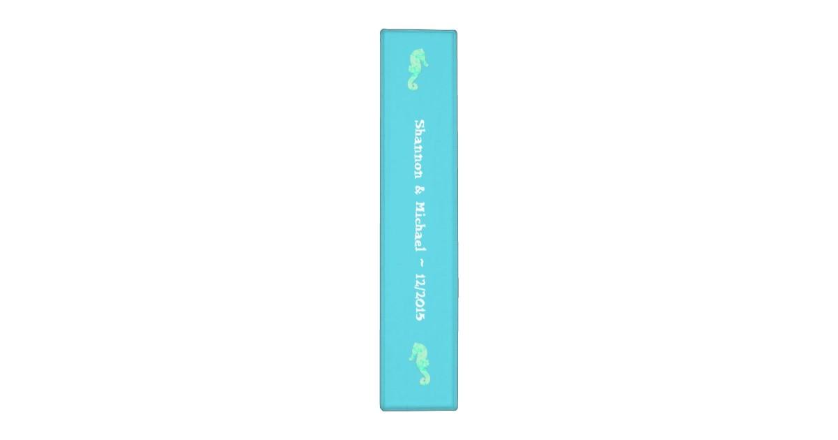 Avery Binder Templates 1 1/2 Inch Aqua Seahorse 2 Inch Template Binder Zazzle