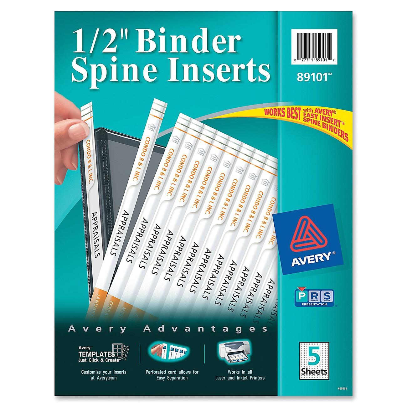 ave89101 avery 89101 binder spine insert