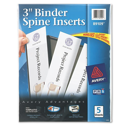 binder spine inserts 3 spine width 3 insertssheet 5 sheetspack ave89109