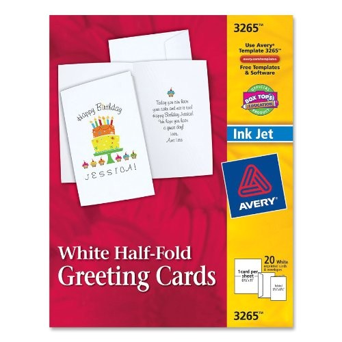 avery half fold greeting cards for inkjet printers 5 5 inches x 8 5 inches white matte pack of 20 03265