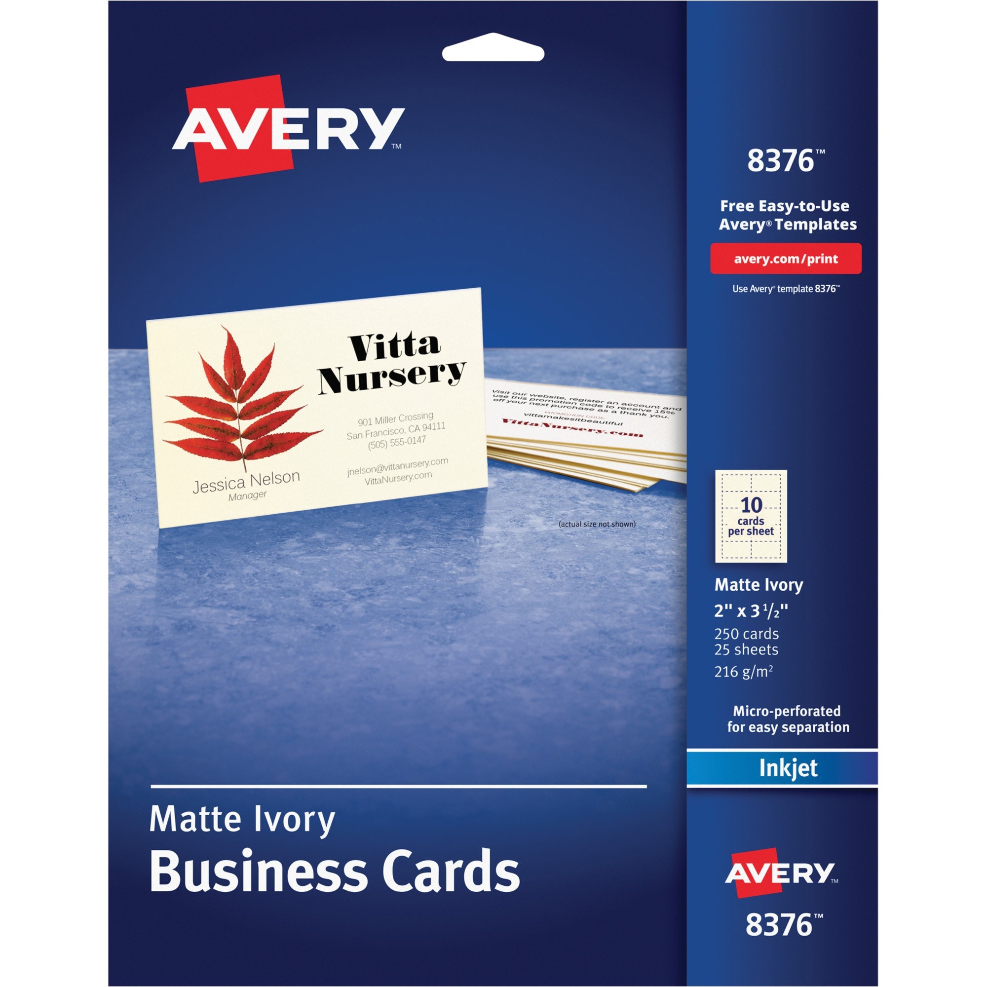 Avery Business Card Template 8376 Avery 8376 Microperforated Inkjet Business Cards A8 2 Quot X
