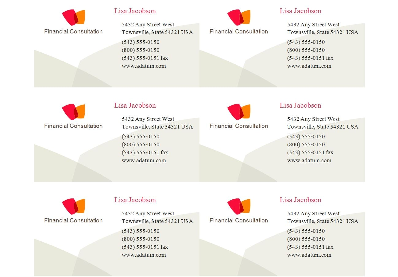 Avery Business Cards Template 8371 Avery 8371 Business Card Template Business Card Sample