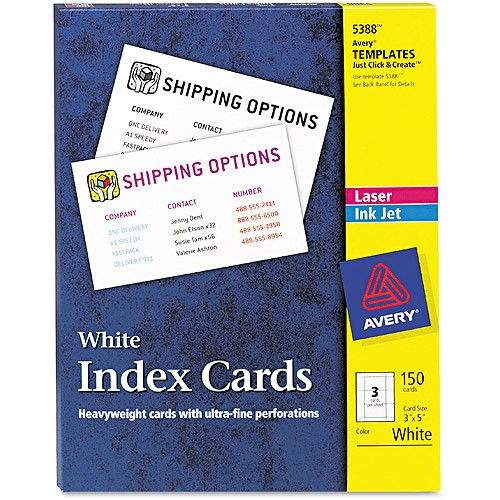 Avery Card Stock Templates Avery 5388 Laser Inkjet Index Card Avi Depot Much More