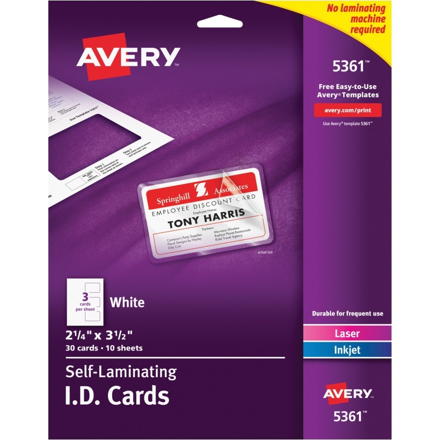 Avery Card Stock Templates Avery Laminated I D Card Yuletide Office solutions