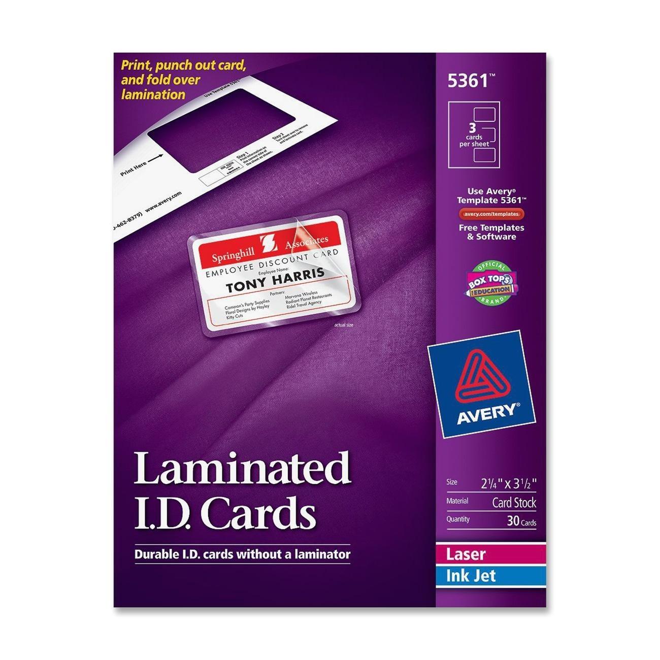 avery ave5361 laminated i d card