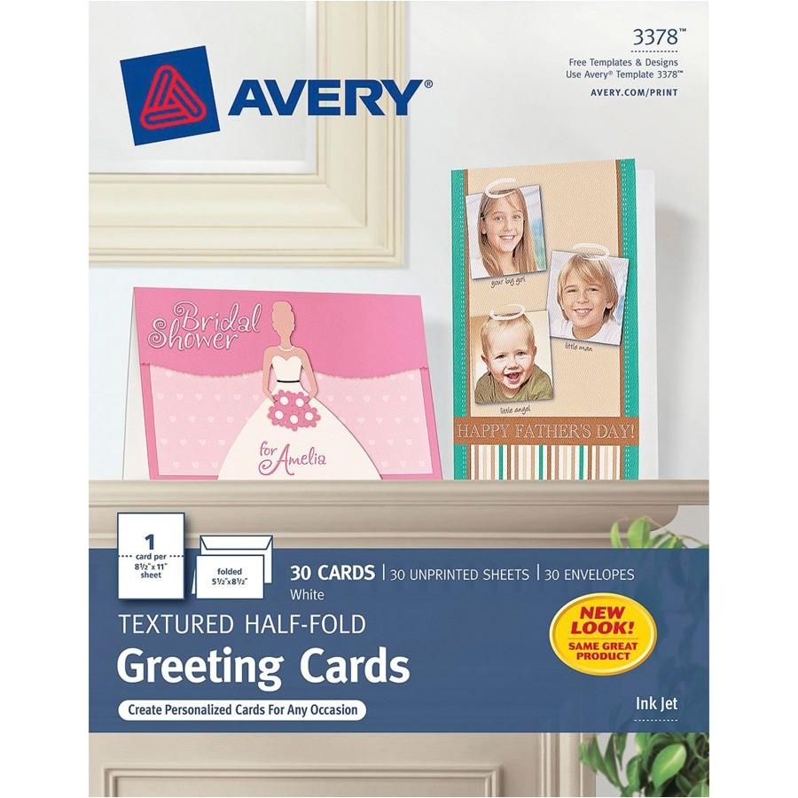 Avery Card Templates Half Fold Avery 3378 Avery Textured Half Fold Greeting Cards