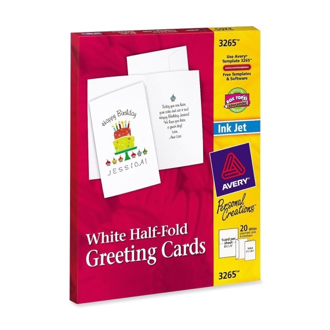avery half fold greeting card white 20pack