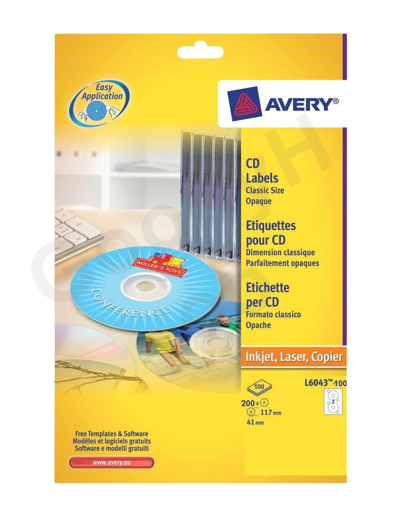avery l6043 transparent classic size cd labels 5bpack 200