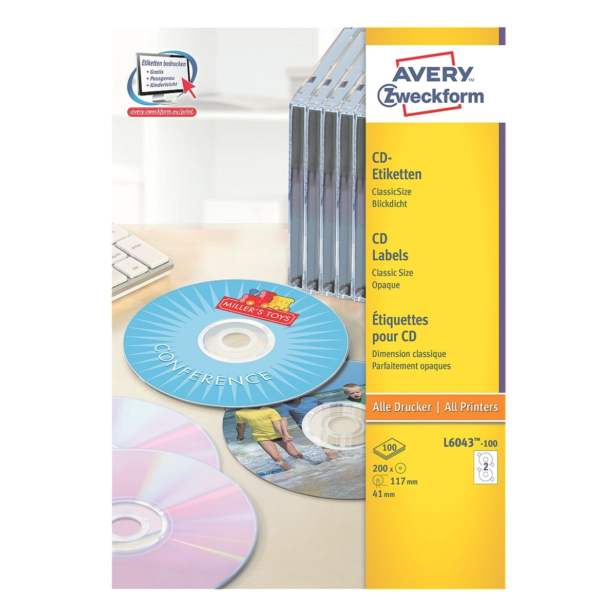 Avery Cd Label Template L6043 Avery Zweckform 100er Pack Cd Dvd Label L6043 100 Bei