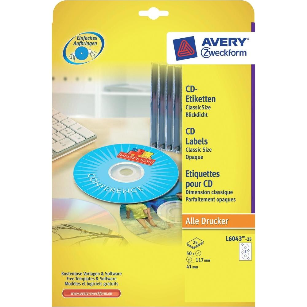 Avery Cd Label Template L6043 Avery Zweckform Cd Etiketten L6043 25 Classic Size 50