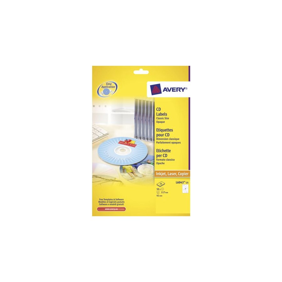 Avery Cd Label Template L6043 Etiket Avery L6043 25 Cd Wit 50stuks All Office Van Lint