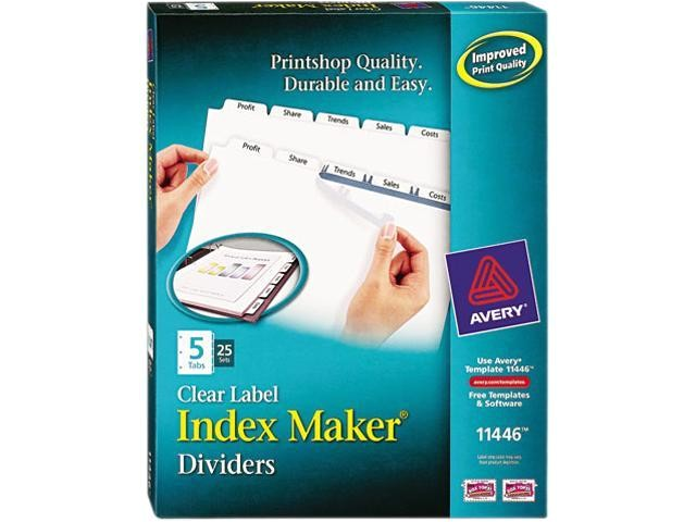 Avery Clear Label Dividers 5 Tab Template 11446 Avery 11446 Index Maker Clear Label Dividers 5 Tab