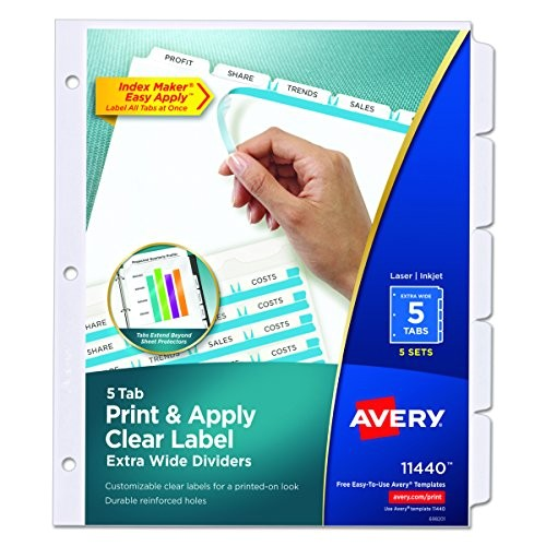 Avery Clear Label Dividers 5 Tab Template 11446 Avery Extra Wide Dividers Ink Jet Printer White 5 Tab