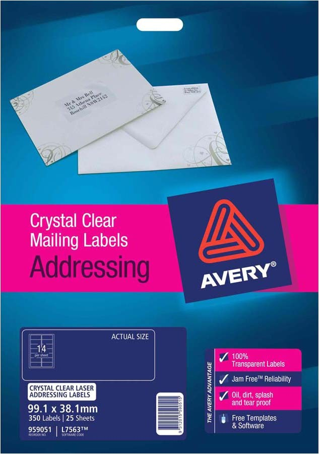 avery crystal clear address labels l7563 25