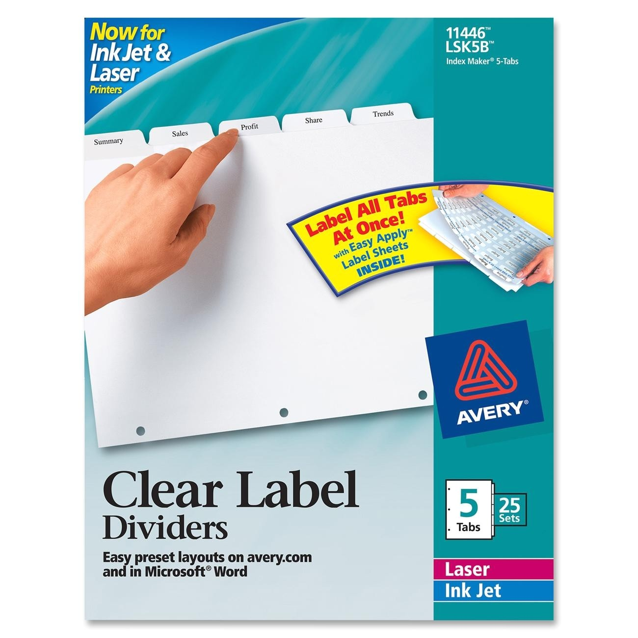 avery ave11446 index maker clear label divider