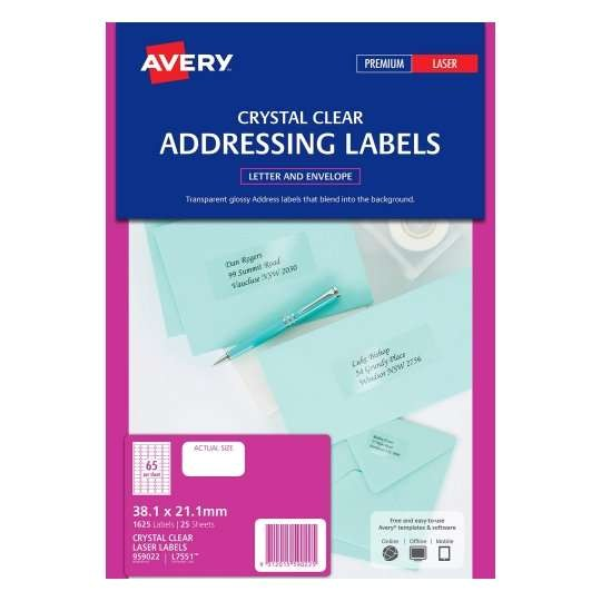 crystal clear address labels 959022