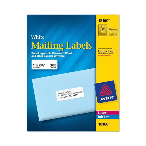 Avery Com Templates 8160 Avery Labels 8160 Self Adhesive Address Labels 30
