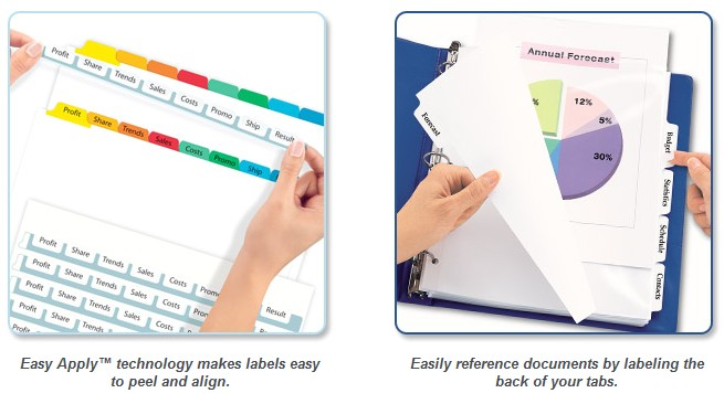 Avery Easy Apply 8 Tab Template Avery Index Maker Clear Pocket Clear Label Presentation