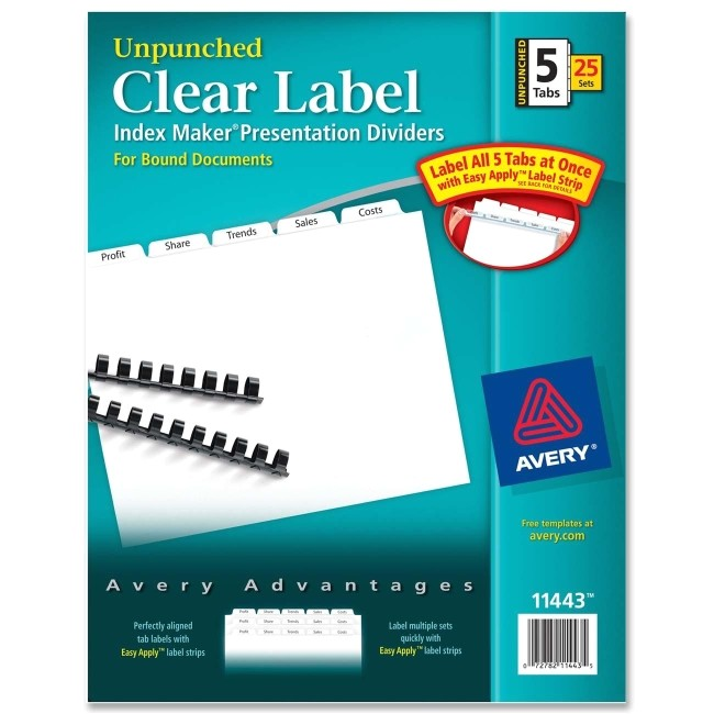 Avery Easy Apply Label Strips 5 Tab Template Avery Index Maker Clear Label Divider 5 X Tab Blank