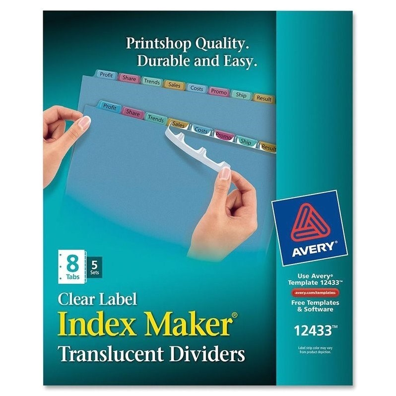 avery index maker easy apply clear label strips ave12433