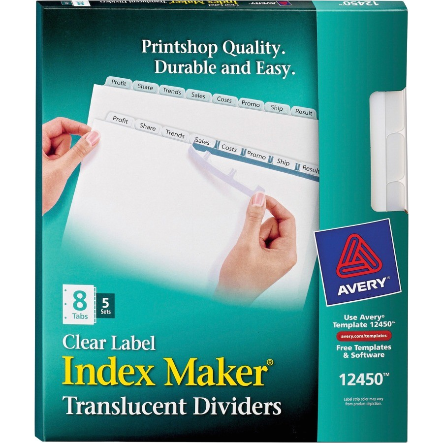 avery index maker easy apply clear label divider ave12450