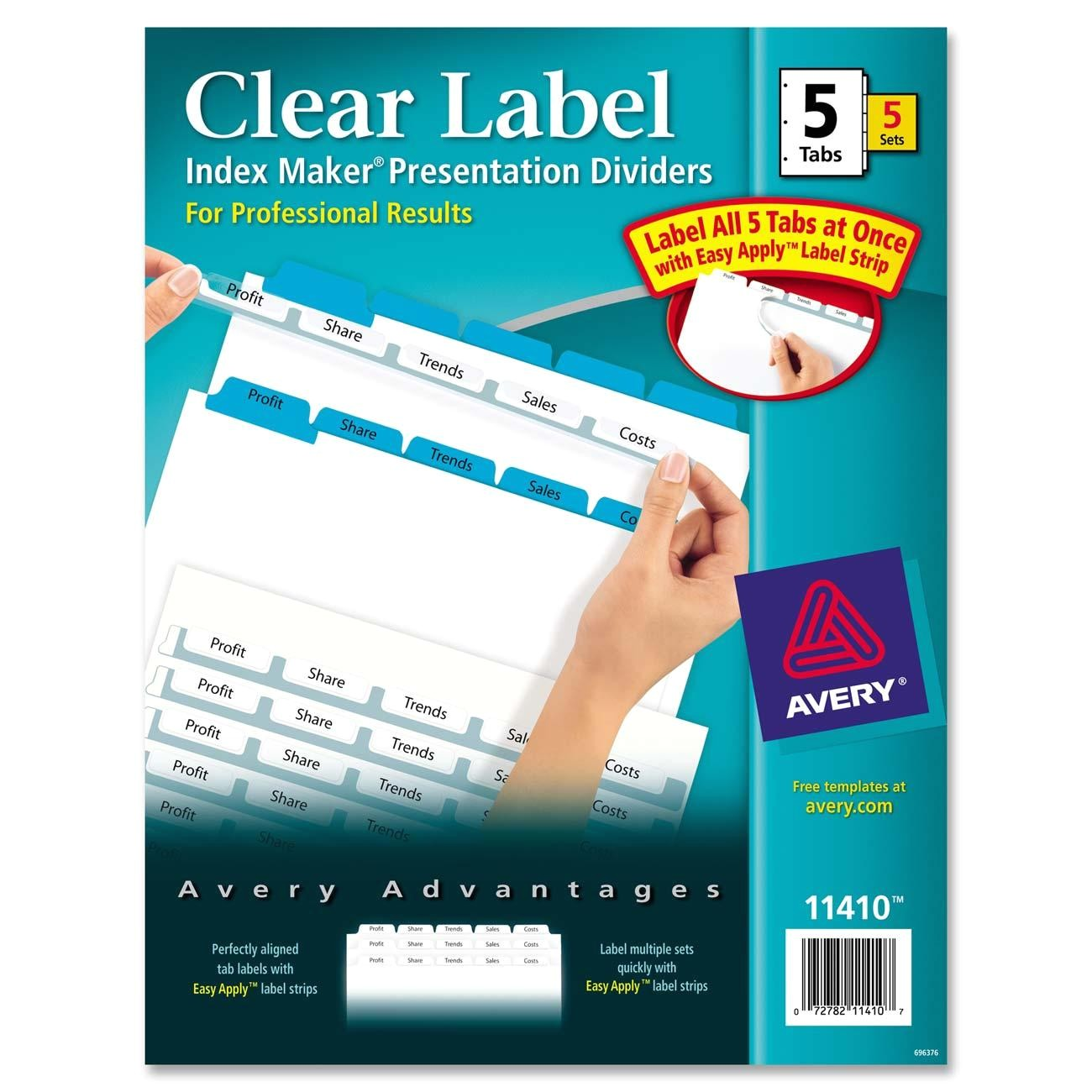 index maker clear label divider with color tabs ave11410 2163292 prd1