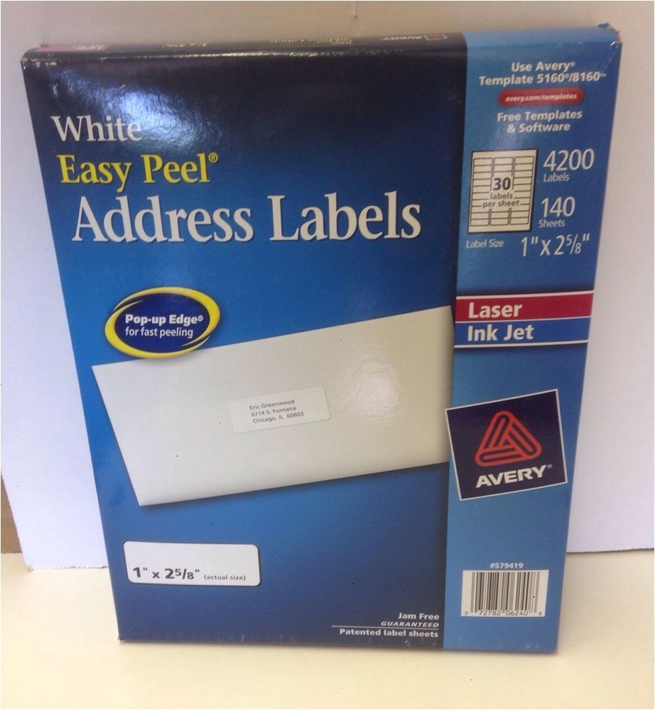 Avery Easy Peel Labels Template 5160 Avery 5160 White Easy Peel Address 1 Quot X 2 5 8 Quot 140 Sheets
