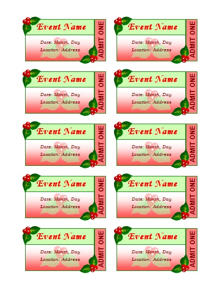 holiday event tickets 10 per sheet 191