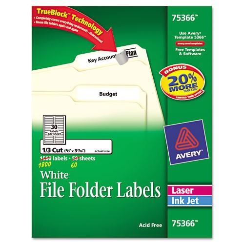 permanent file folder labels trueblock inkjetlaser white 1800box ave75366
