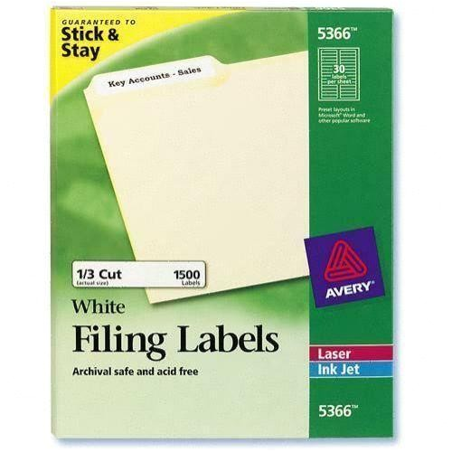 Avery File Folder Labels 5366 Template Avery 5366 White Laser Inkjet Filing Labels