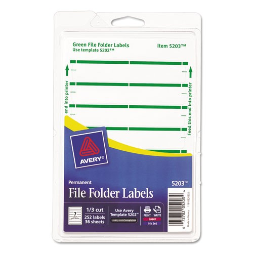 print or write file folder labels 1116 x 3 716 whitegreen bar 252pack ave05203