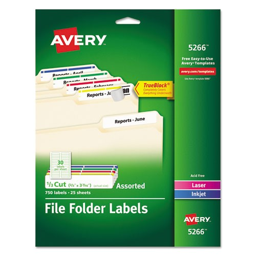 permanent adhesive laserinkjet file folder labels assorted 750pack ave5266