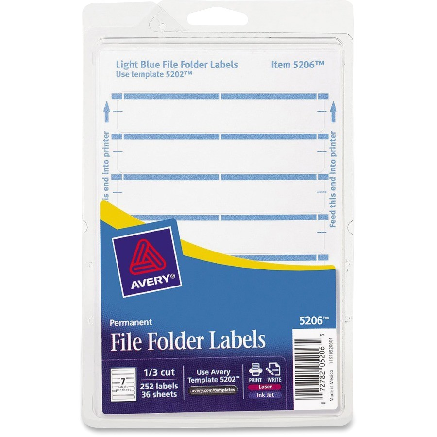 Avery File Folder Template Avery Permanent 1 3 Cut File Folder Labels Ave05206