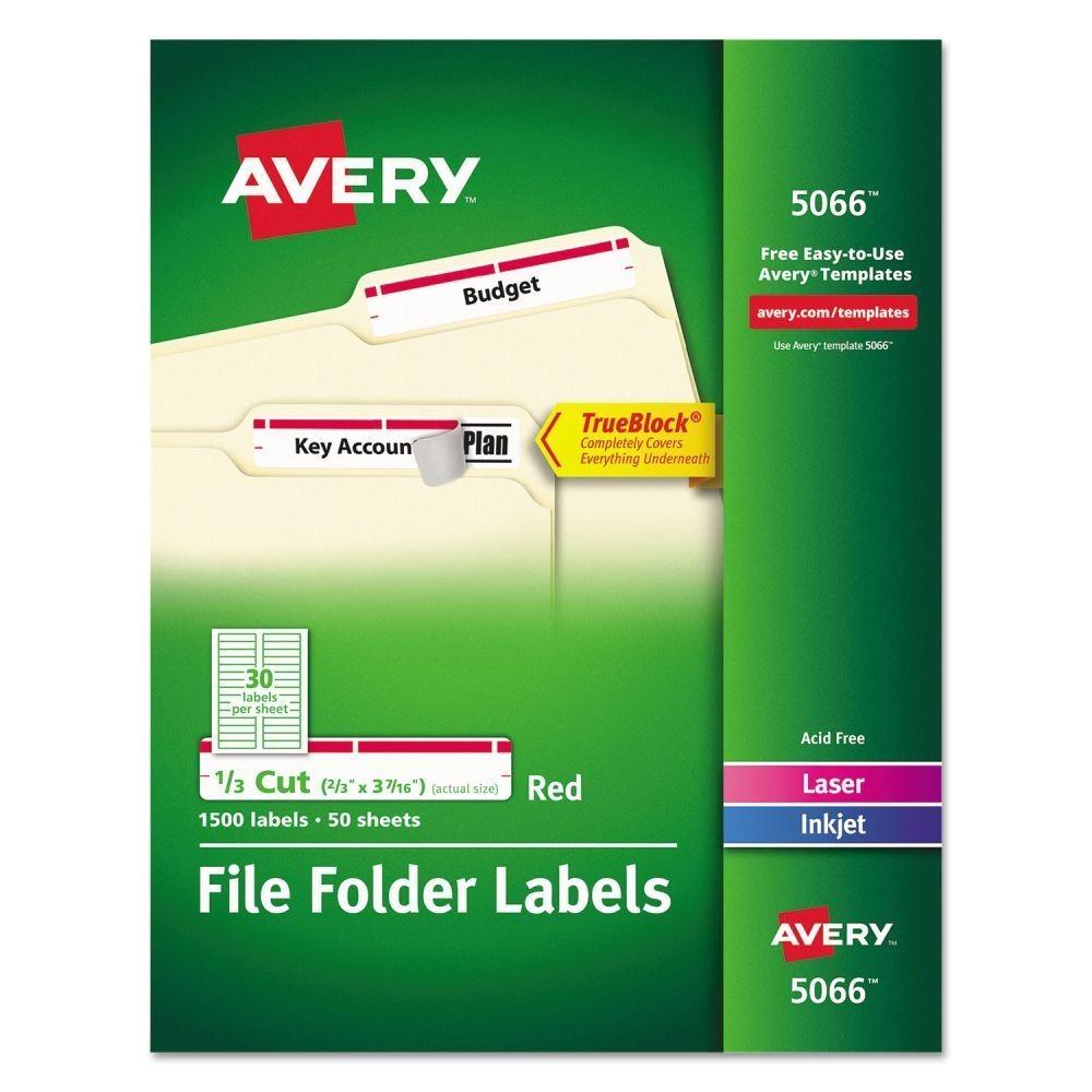 Avery File Folder Template Avery Permanent File Folder Labels Ave5066 72782050665