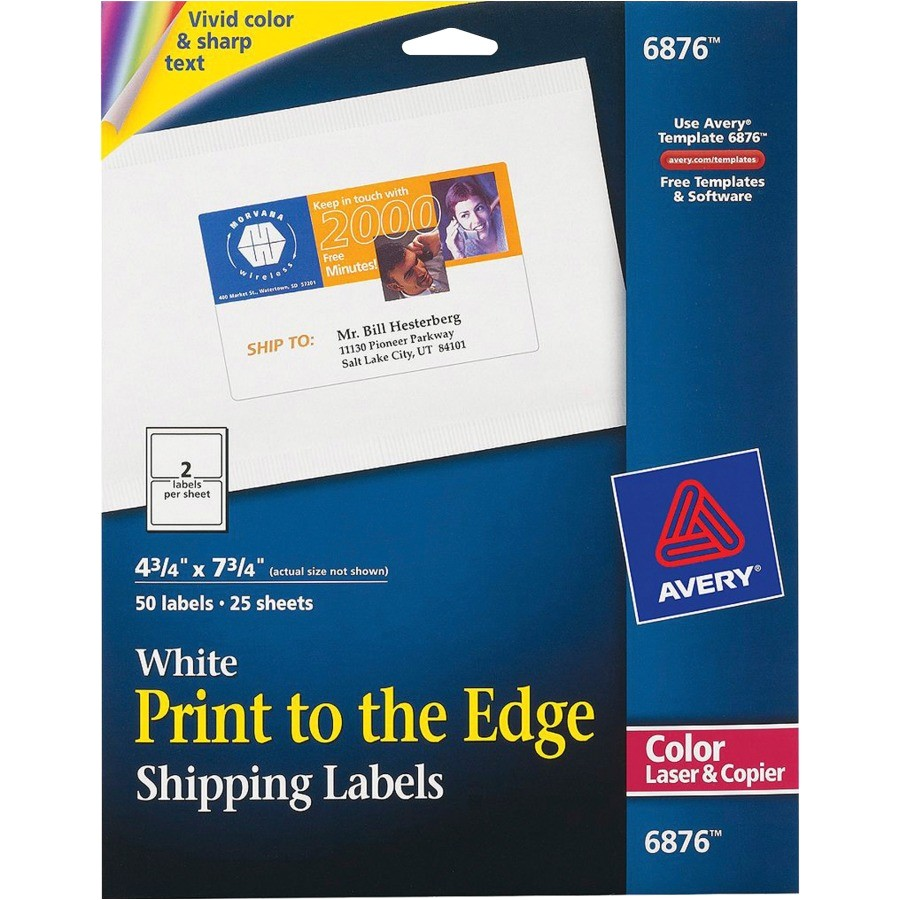 avery white print to the edge shipping labels ave6876